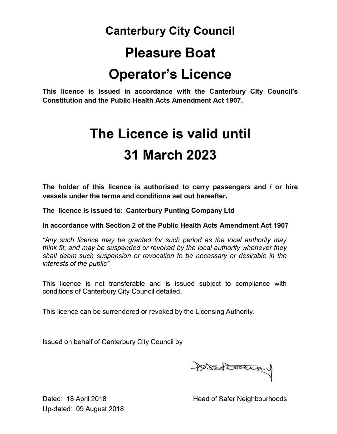 Operators Licence